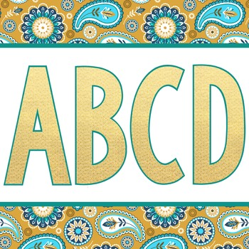 summer PAISLEY - Classroom Decor, bulletin board letters, numbers, punctuation