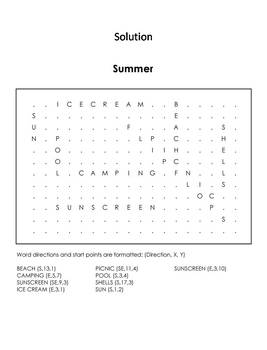 Summer Word Search/ Coloring Sheet