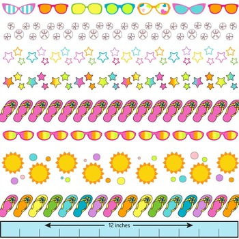 summer clip art borders with sunglasses, flip flops, starfish