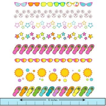 summer clip art borders with sunglasses, flip flops, starfish