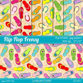 summer digital paper - flip flop frenzy printable paper