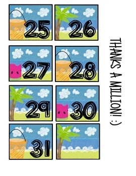 summer theme calendar cards