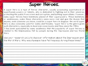 Super Hero Classroom Themed Pack - Worksheets & Activities