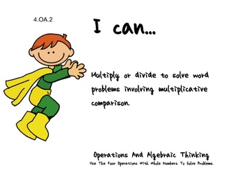 superhero Theme 4th Fourth Common Core Posters Math Mathematics Posters