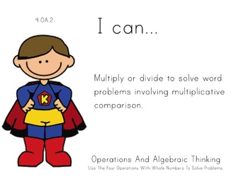 superhero Theme 4th Fourth Common Core Posters Math Mathem
