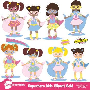 Superhero girls Clipart, Digital Clip art instant download, AMB-118
