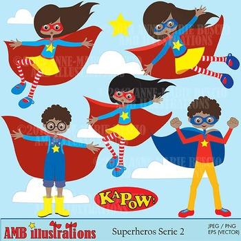 Superhero girls clipart, African American Superhero clipart AMB-482
