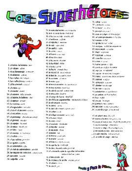 superheroes vocab (spanish)