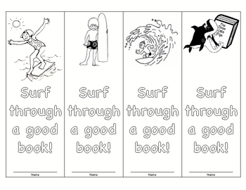 surfing themed bookmarks