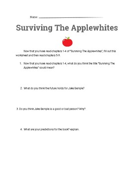 surviving the apple whites worksheet for chapters 1-4 *FREEBIE*