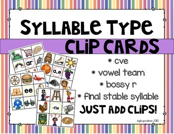 syllable type clips cards mini bundle