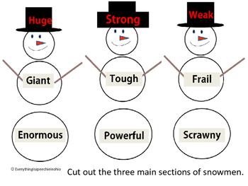 synonym snowmen with antonym extension activity