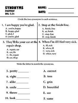 synonyms pre-post test