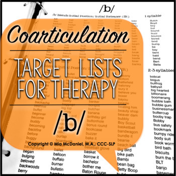 /t, d, p, b/ Sound Targets for Articulation Therapy {coarticulation}