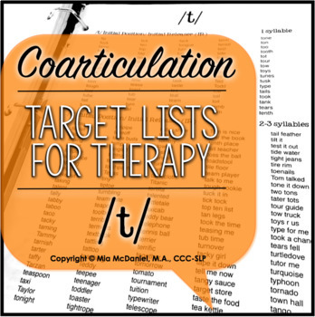 Articulation Therapy Sound Lists: /p, b, t, d/ {featuring coarticulation}