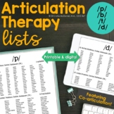 Articulation Therapy Lists for P, B. T, and D Phonemes