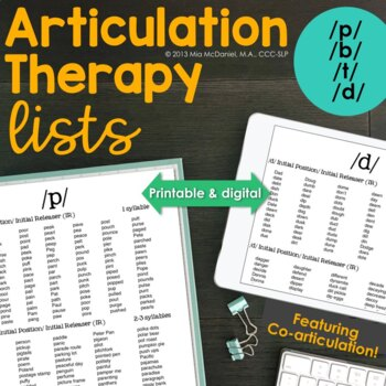 /t, d, p, b/ Sound Targets for Articulation Therapy {coart