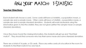 """t-statistic """"Find Your Match"""" Activity"""