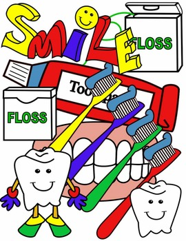 DENTAL HEALTH * TEETH CLIP ART * COLOR AND BLACK AND WHITE