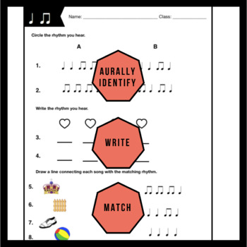 ta/ti-ti Worksheet   Music Assessment & Songs