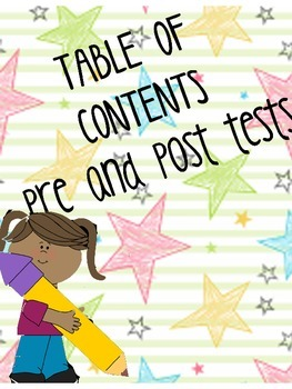 table of contents pre-post test