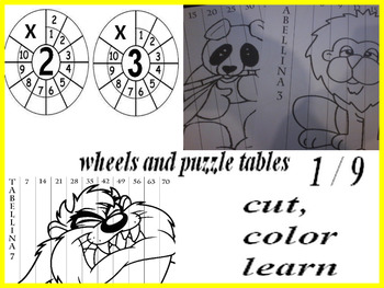 table wheel  0-9 -    ruota delle tabelline compelta 0-9 AND PUZZLE