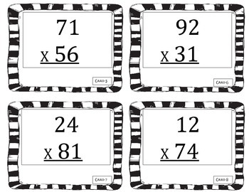 task cards:  2 by 2 multiplication problem