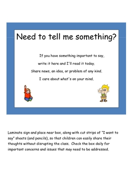tattle sheets for students to discreetly share thoughts or problems