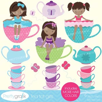 tea party clipart commercial use, vector graphics, digital clip art - CL544