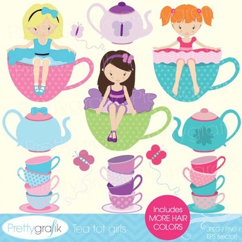 tea party clipart for scrapbooking, commercial use, vector graphics - CL515