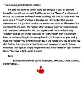 teacher morale letter with candy theme