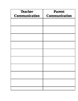 teacher/ parent communication log
