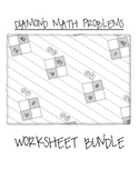 Math Diamond Problems Worksheet Bundle (Factoring Trinomials) - Algebra