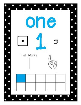 teal, black, and white polka dot number posters (1-20)