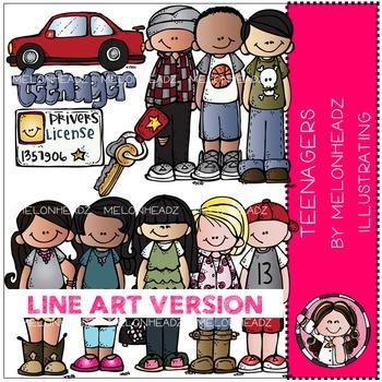 Teenagers clip art - LINE ART- by Melonheadz
