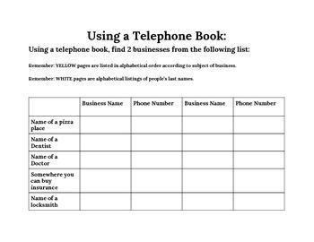 telephone book scavenger hunt
