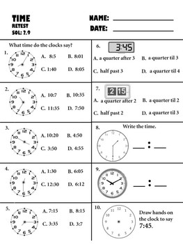 telling time pretest, posttest, and retest