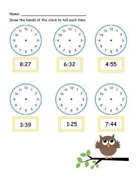 telling time work sheet