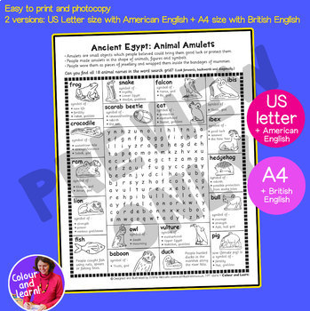 Ancient Egypt Word Search Puzzle