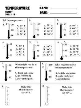 temperature pretest, posttest, and retest