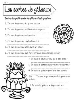 temps libre - les sortes de gâteaux