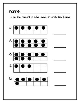 ten frame math for kindergarten freebie by katie miller tpt. Black Bedroom Furniture Sets. Home Design Ideas