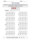 ten frame worksheet- single frame, single numbers