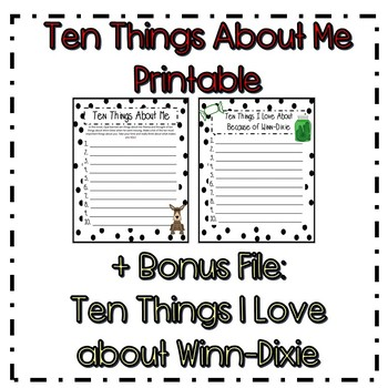 Ten Things about Me Printable ~ Because of Winn-Dixie Activity