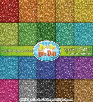 Rainbow Glitter Pattern Digital Scrapbook Pack {Zip-A-Dee-Doo-Dah Designs}