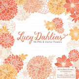Lucy Floral Dahlias Clipart in Antique Peach