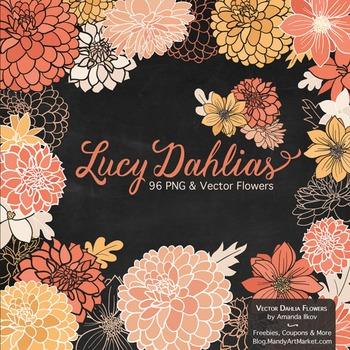 Lucy Floral Dahlias Clipart in Antique Peach