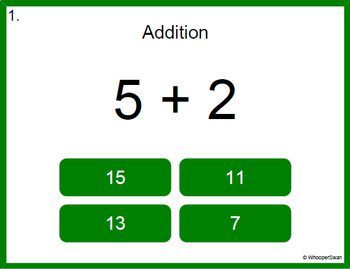 Digital Task Cards: 1-Digit Addition