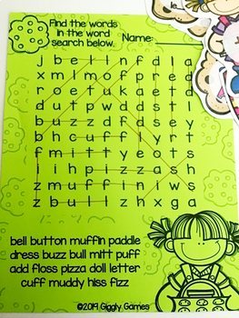 Giggly Games Baking Buddies Double Consonant Learning Center with Worksheet