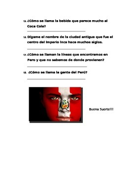 test conocimientos sobre Peru y Honduras
